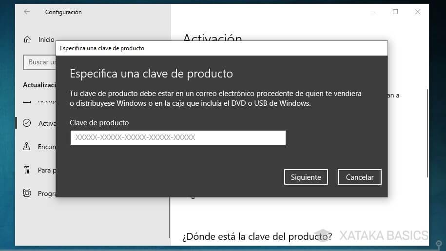 introduce clave original windows 10