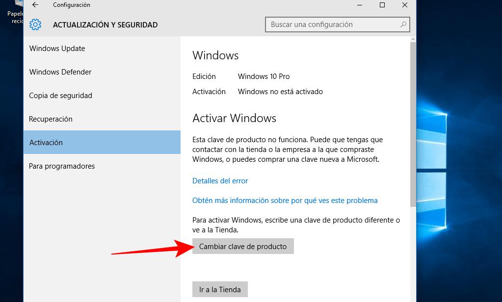 cambiar clave de producto windows 10