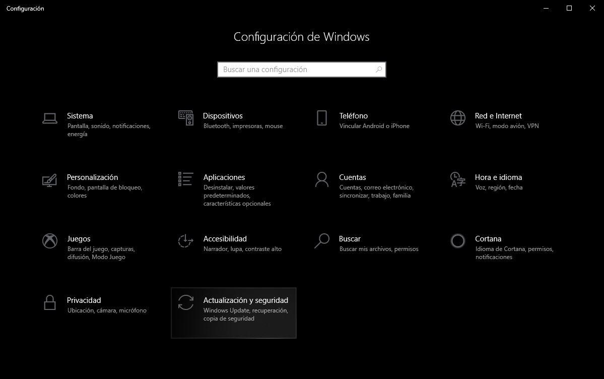 actualización y seguridad windows 10